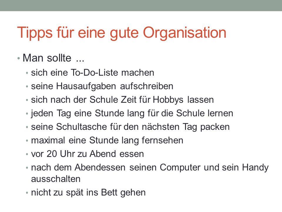 Tipps für eine gute Organisation