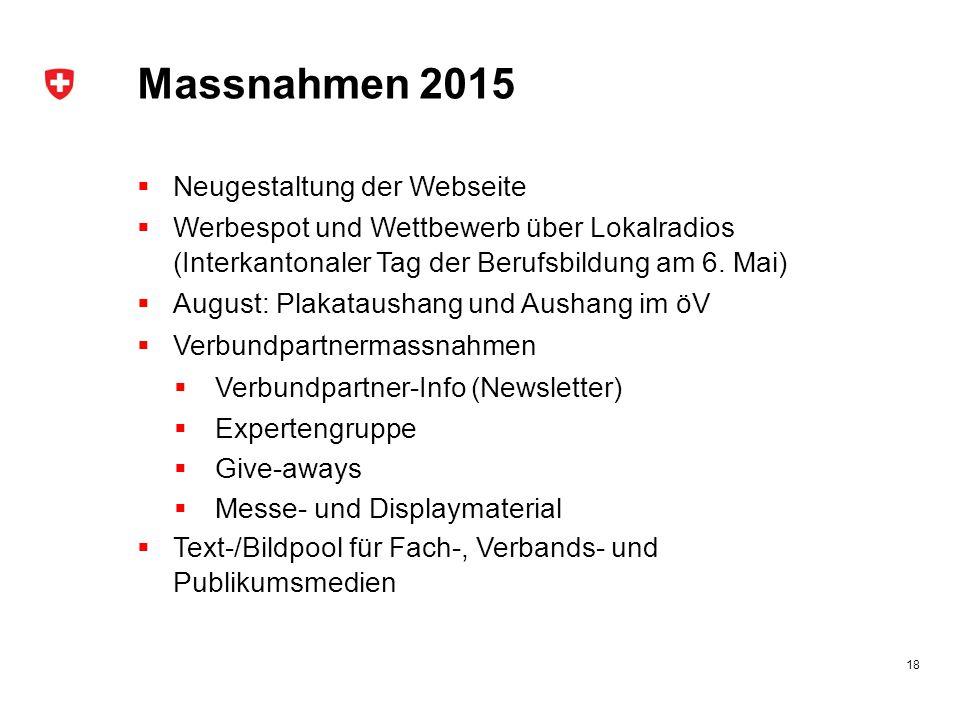 Massnahmen 2015 Neugestaltung der Webseite