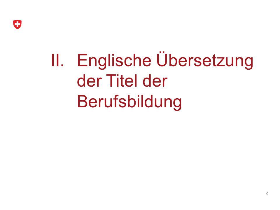 Englische Übersetzung der Titel der Berufsbildung