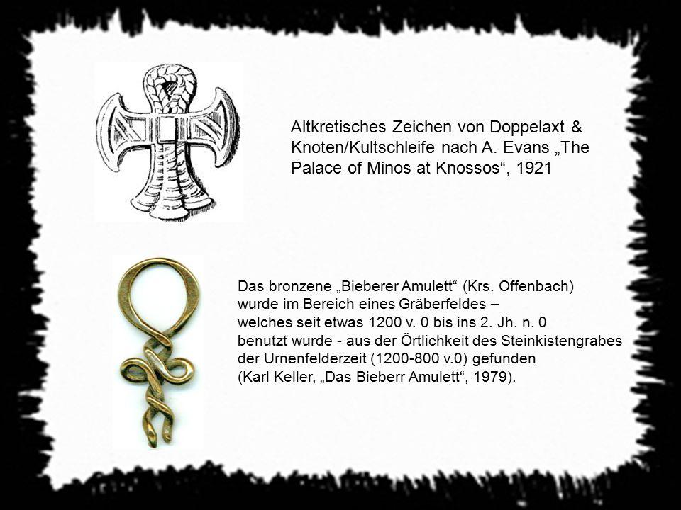 Altkretisches Zeichen von Doppelaxt & Knoten/Kultschleife nach A