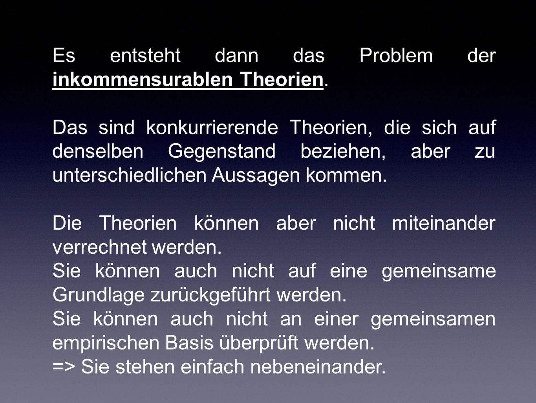 Es entsteht dann das Problem der inkommensurablen Theorien.