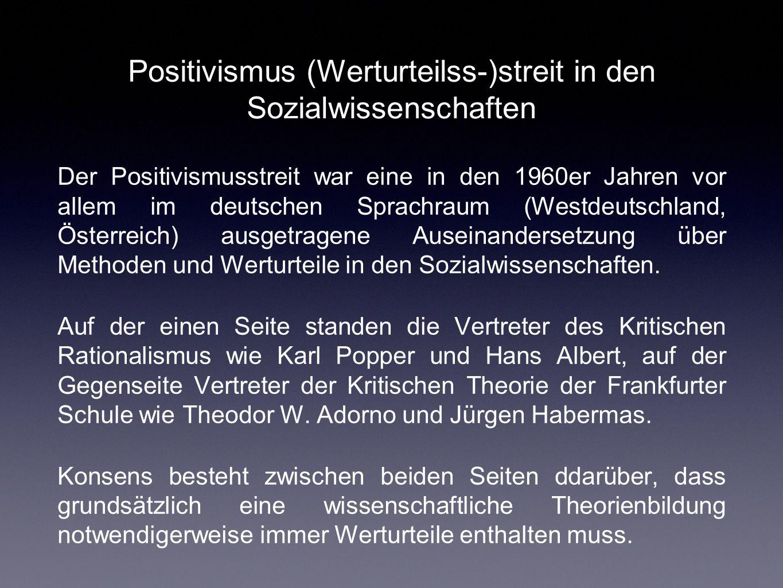 Positivismus (Werturteilss-)streit in den Sozialwissenschaften