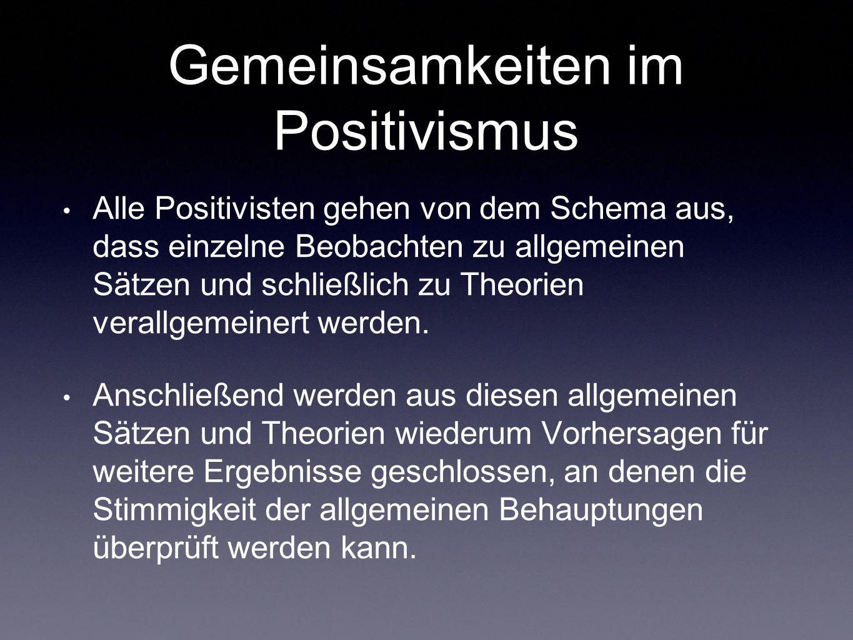 Gemeinsamkeiten im Positivismus