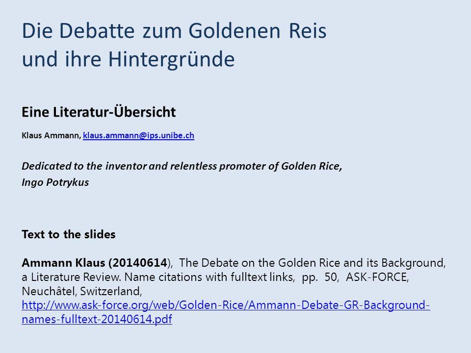 Die Debatte zum Goldenen Reis und ihre Hintergründe