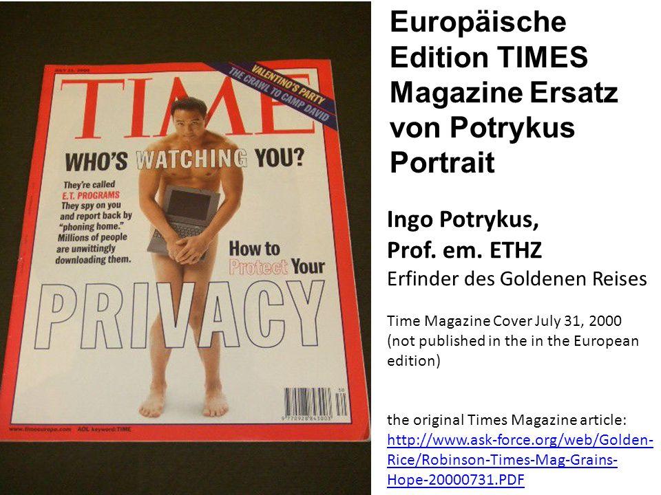Europäische Edition TIMES Magazine Ersatz von Potrykus Portrait