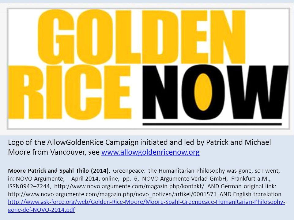 Logo of the AllowGoldenRice Campaign initiated and led by Patrick and Michael Moore from Vancouver, see www.allowgoldenricenow.org