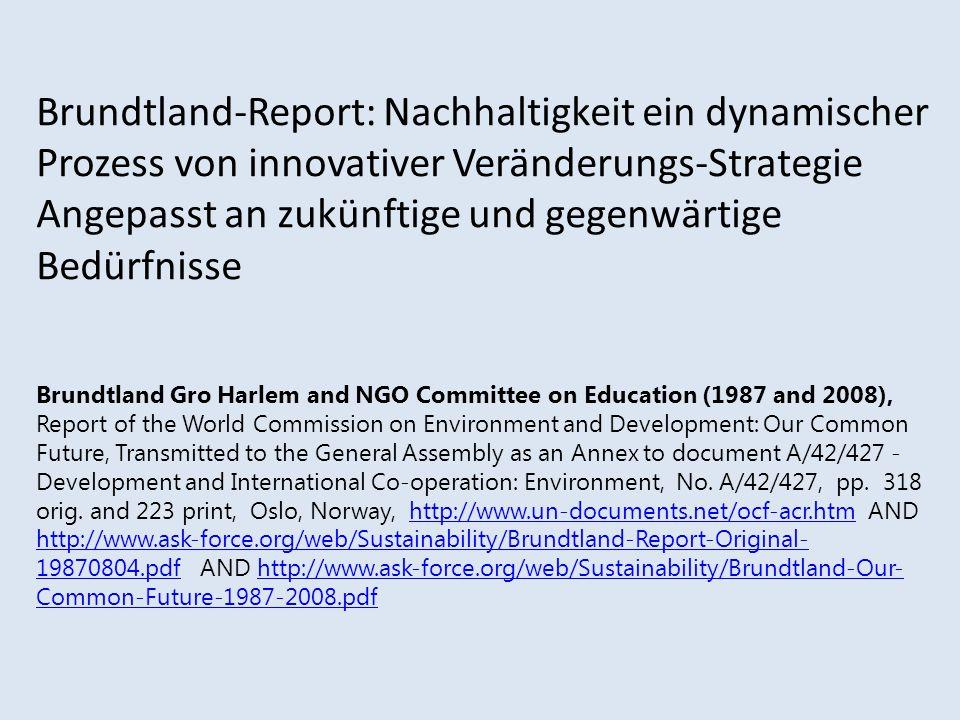 Brundtland-Report: Nachhaltigkeit ein dynamischer