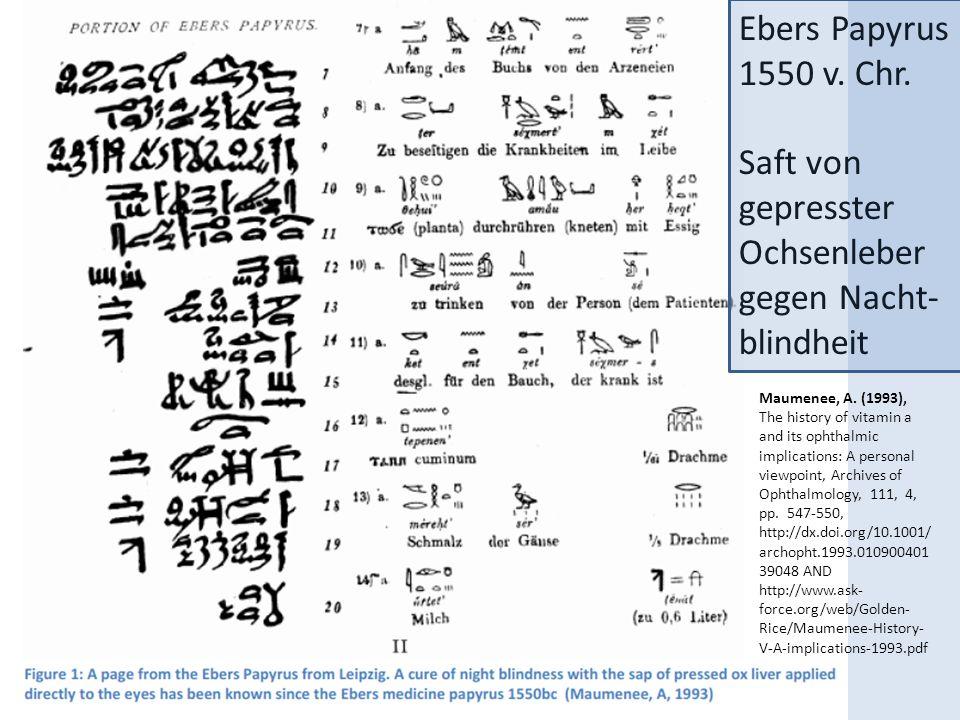 Ebers Papyrus 1550 v. Chr. Saft von gepresster Ochsenleber