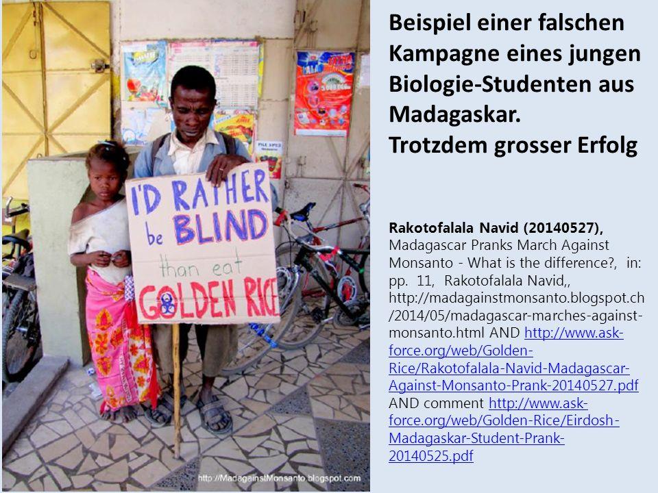 Beispiel einer falschen Kampagne eines jungen Biologie-Studenten aus