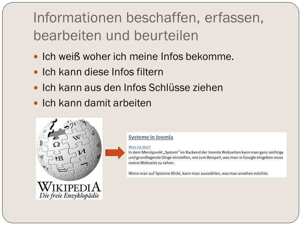 Informationen beschaffen, erfassen, bearbeiten und beurteilen