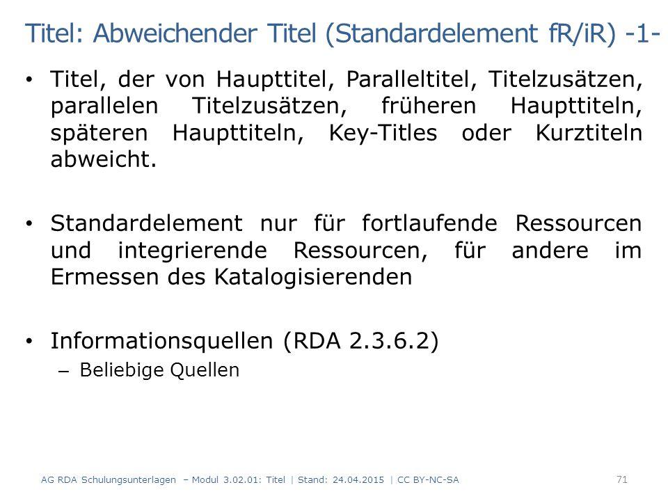 Titel: Abweichender Titel (Standardelement fR/iR) -1-