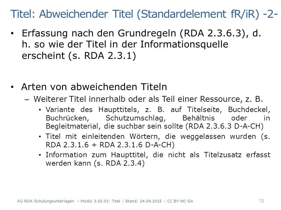 Titel: Abweichender Titel (Standardelement fR/iR) -2-