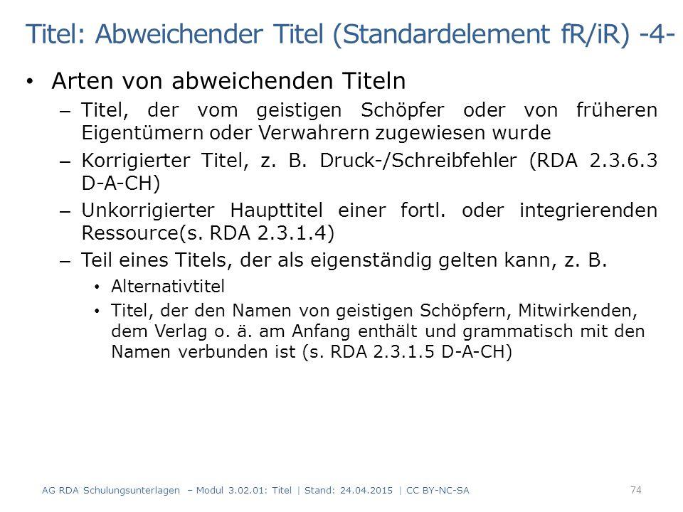 Titel: Abweichender Titel (Standardelement fR/iR) -4-