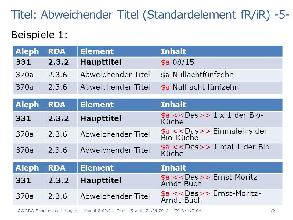 Titel: Abweichender Titel (Standardelement fR/iR) -5-