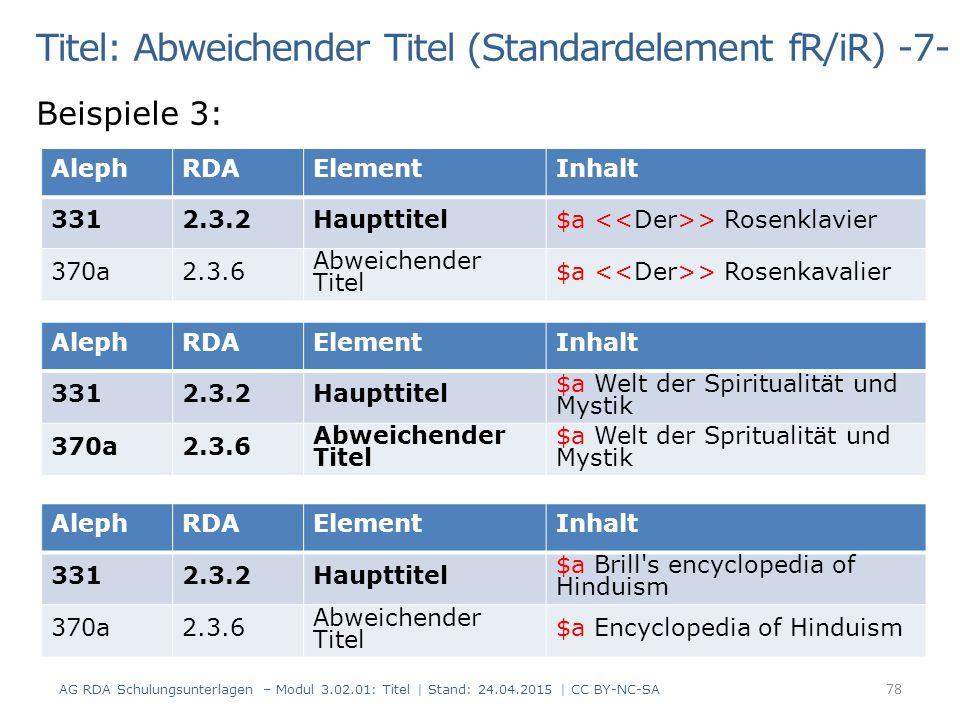 Titel: Abweichender Titel (Standardelement fR/iR) -7-