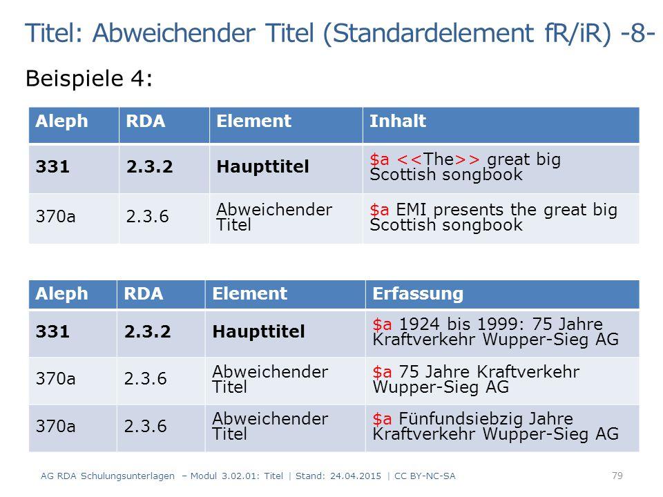 Titel: Abweichender Titel (Standardelement fR/iR) -8-