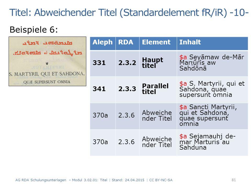 Titel: Abweichender Titel (Standardelement fR/iR) -10-