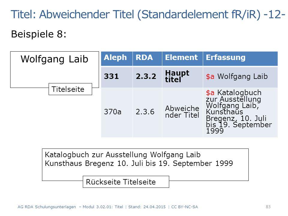 Titel: Abweichender Titel (Standardelement fR/iR) -12-