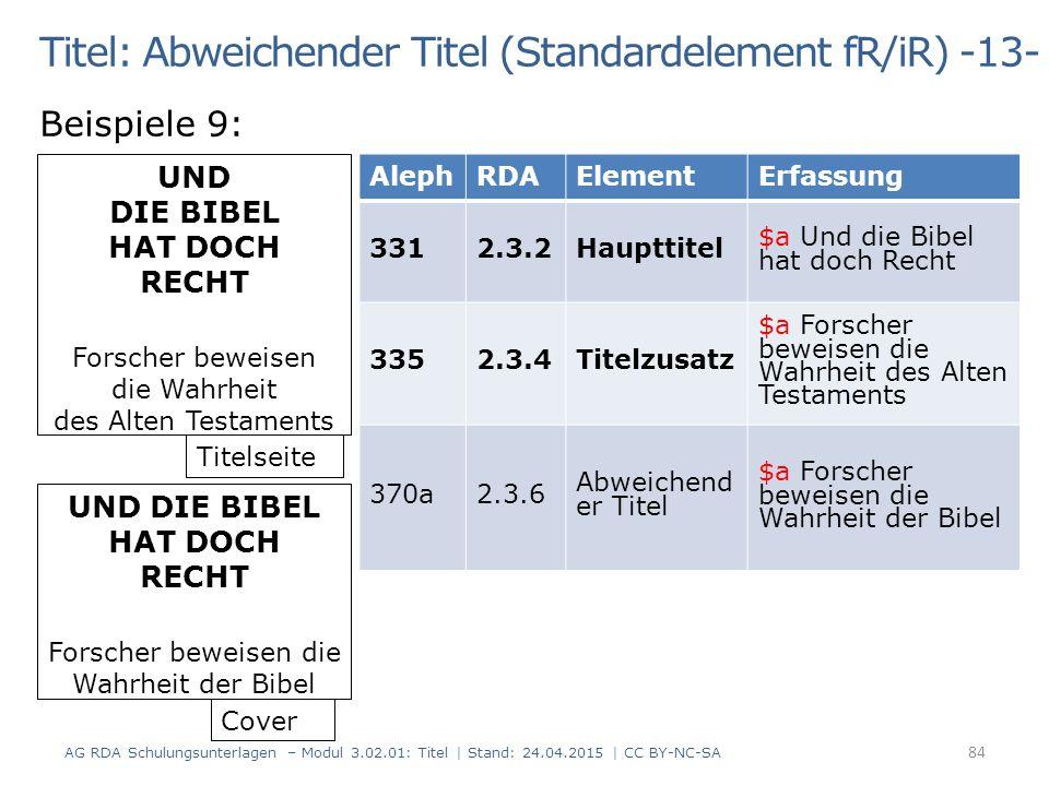 Titel: Abweichender Titel (Standardelement fR/iR) -13-