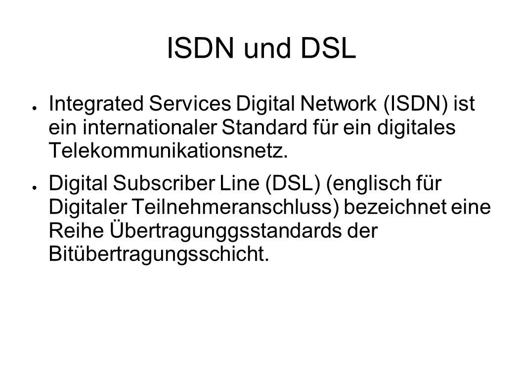 ISDN und DSL Integrated Services Digital Network (ISDN) ist ein internationaler Standard für ein digitales Telekommunikationsnetz.
