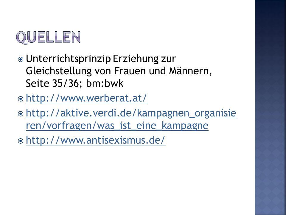 Quellen Unterrichtsprinzip Erziehung zur Gleichstellung von Frauen und Männern, Seite 35/36; bm:bwk.