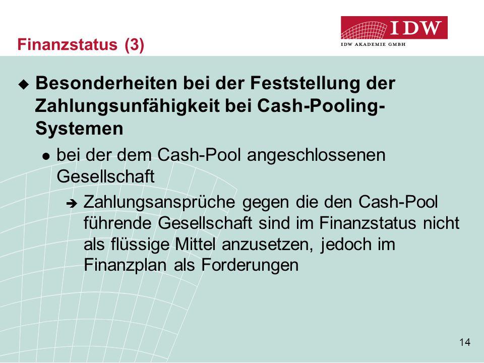 Finanzstatus (3) Besonderheiten bei der Feststellung der Zahlungsunfähigkeit bei Cash-Pooling-Systemen.