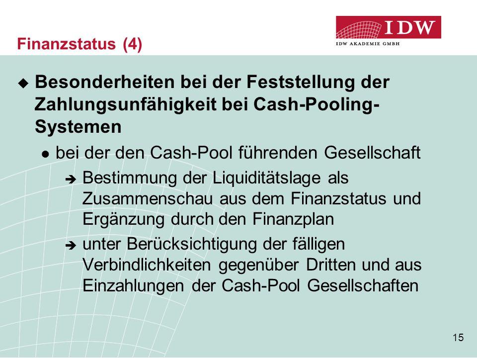 Finanzstatus (4) Besonderheiten bei der Feststellung der Zahlungsunfähigkeit bei Cash-Pooling-Systemen.