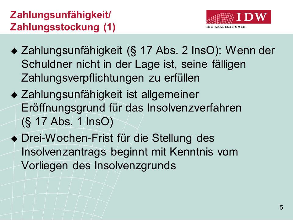 Zahlungsunfähigkeit/ Zahlungsstockung (1)