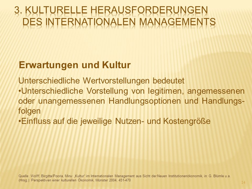 3. Kulturelle Herausforderungen des internationalen Managements