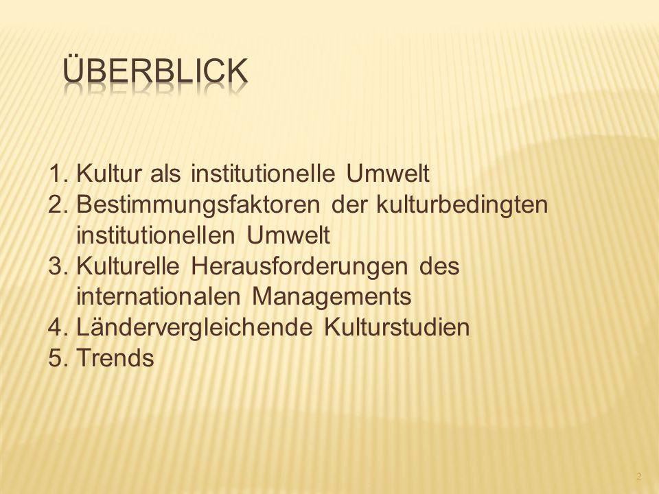 Überblick 1. Kultur als institutionelle Umwelt