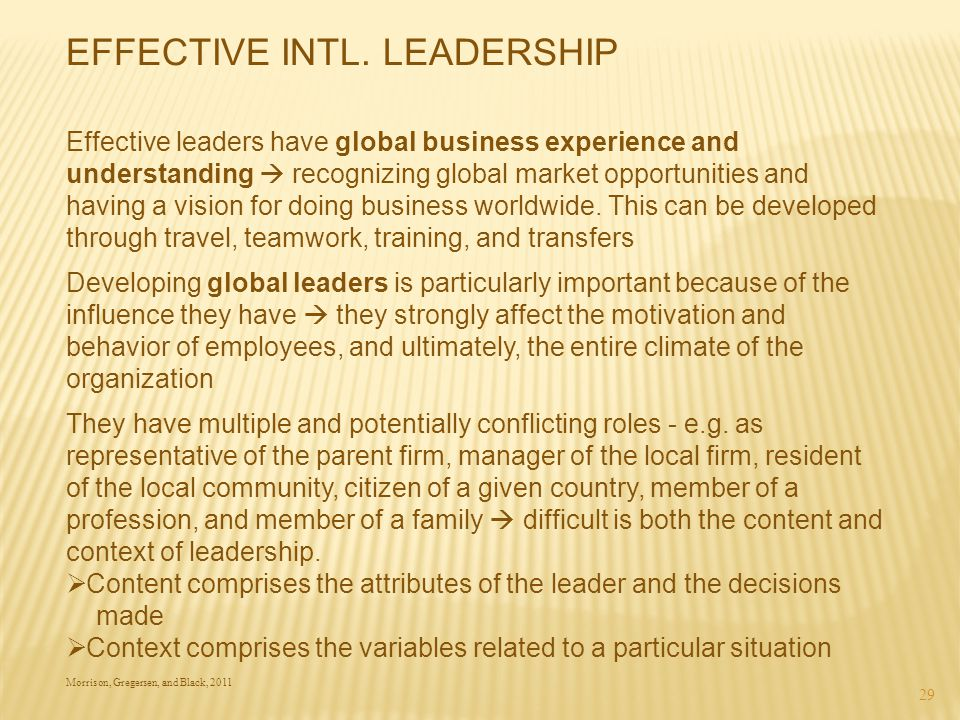 EFFECTIVE INTL. LEADERSHIP