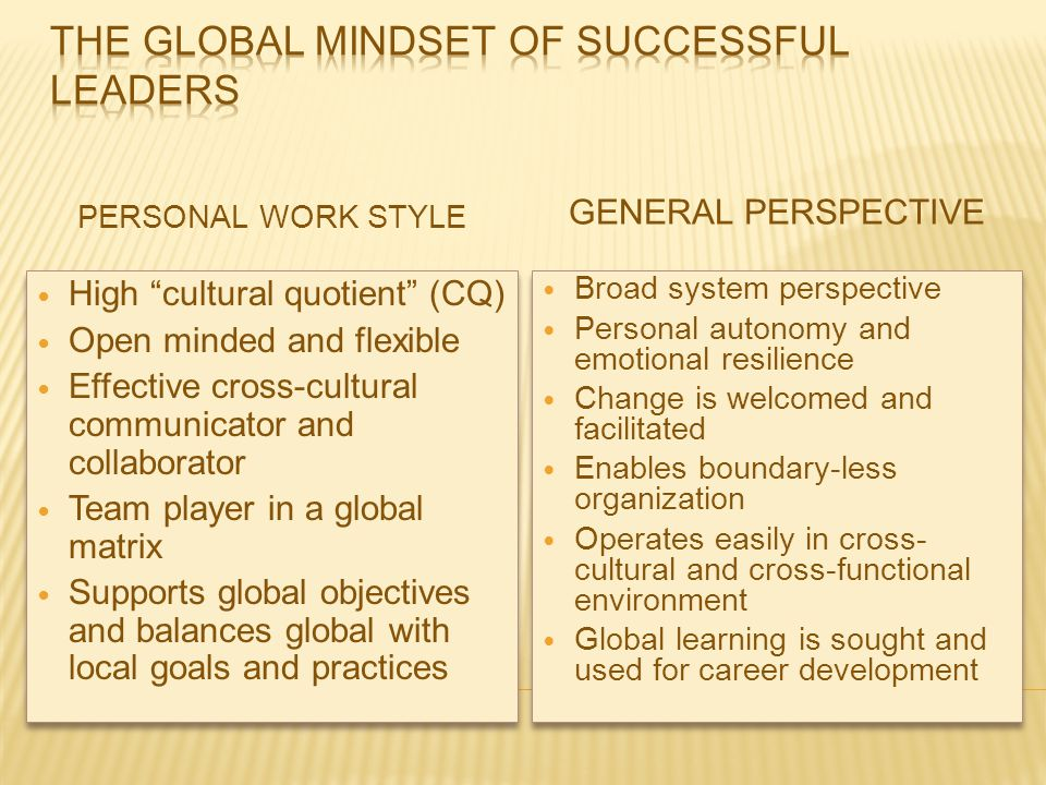 The Global Mindset of Successful Leaders