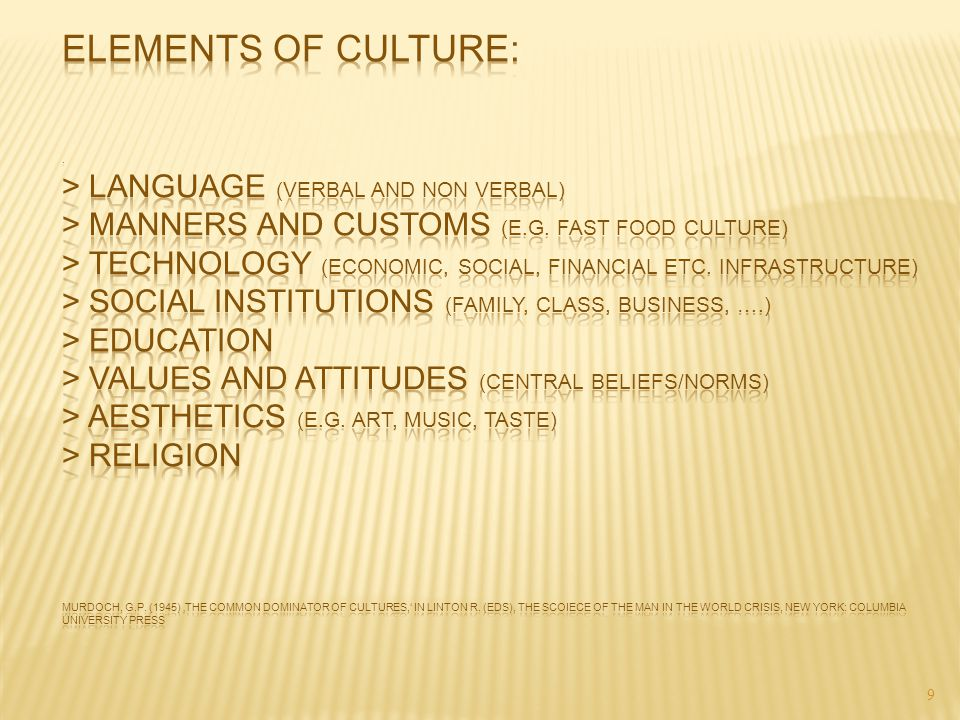 Elements of culture: . > language (verbal and non verbal) > manners and customs (e.g.