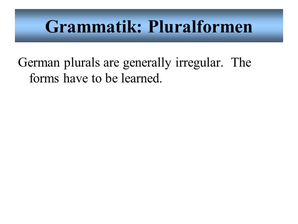 Grammatik: Pluralformen