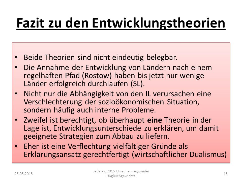 Fazit zu den Entwicklungstheorien
