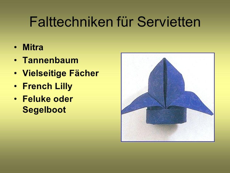 Falttechniken für Servietten