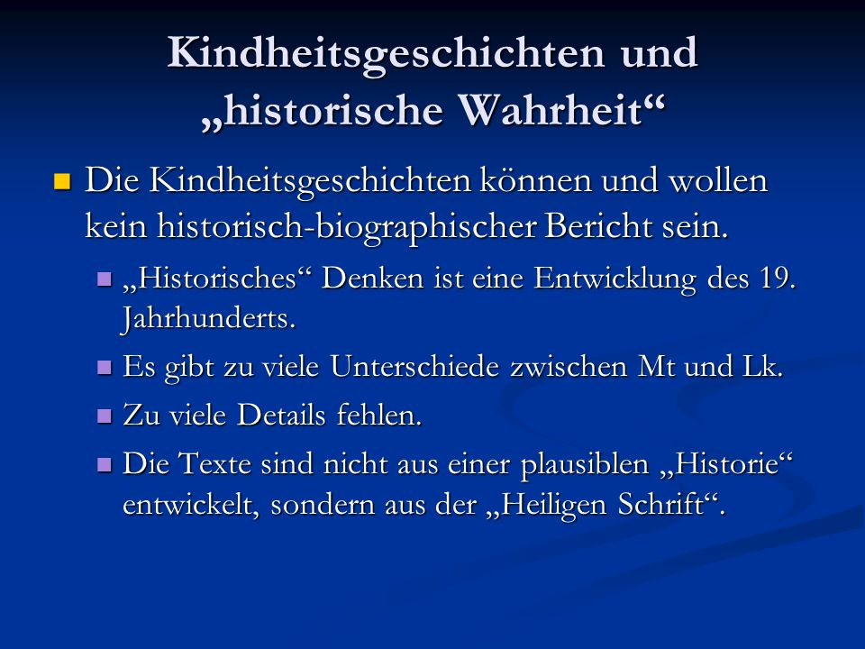 """Kindheitsgeschichten und """"historische Wahrheit"""