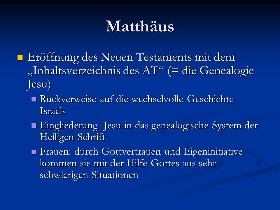 """Matthäus Eröffnung des Neuen Testaments mit dem """"Inhaltsverzeichnis des AT (= die Genealogie Jesu)"""