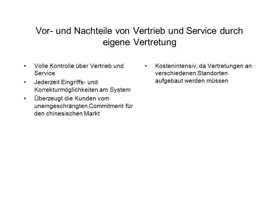 Vor- und Nachteile von Vertrieb und Service durch eigene Vertretung
