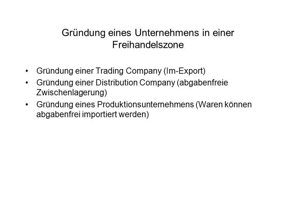 Gründung eines Unternehmens in einer Freihandelszone