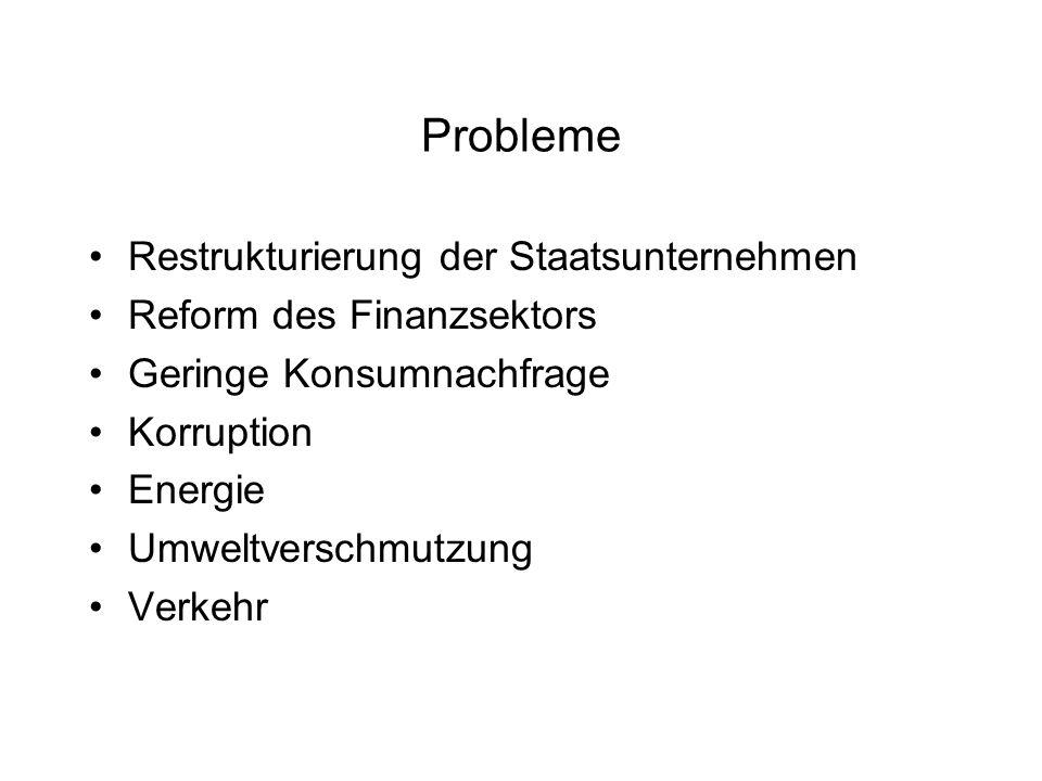 Probleme Restrukturierung der Staatsunternehmen