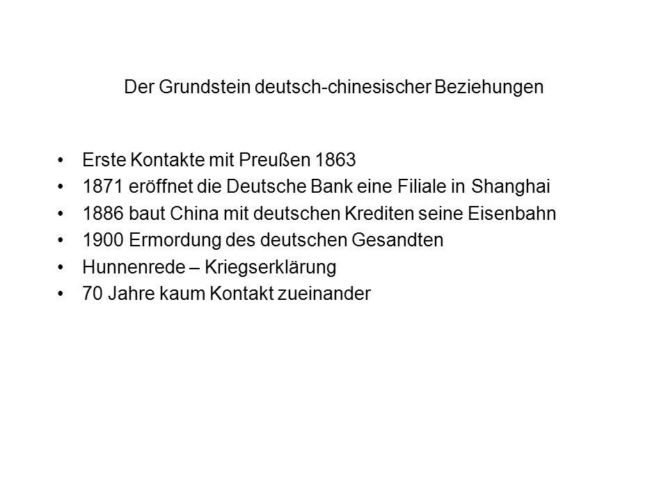 Der Grundstein deutsch-chinesischer Beziehungen