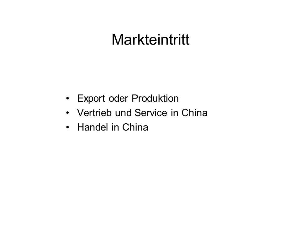 Markteintritt Export oder Produktion Vertrieb und Service in China