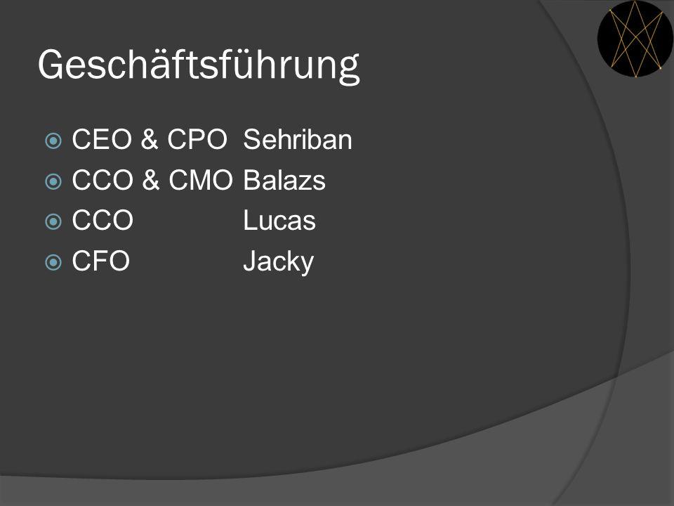 Geschäftsführung CEO & CPO Sehriban CCO & CMO Balazs CCO Lucas