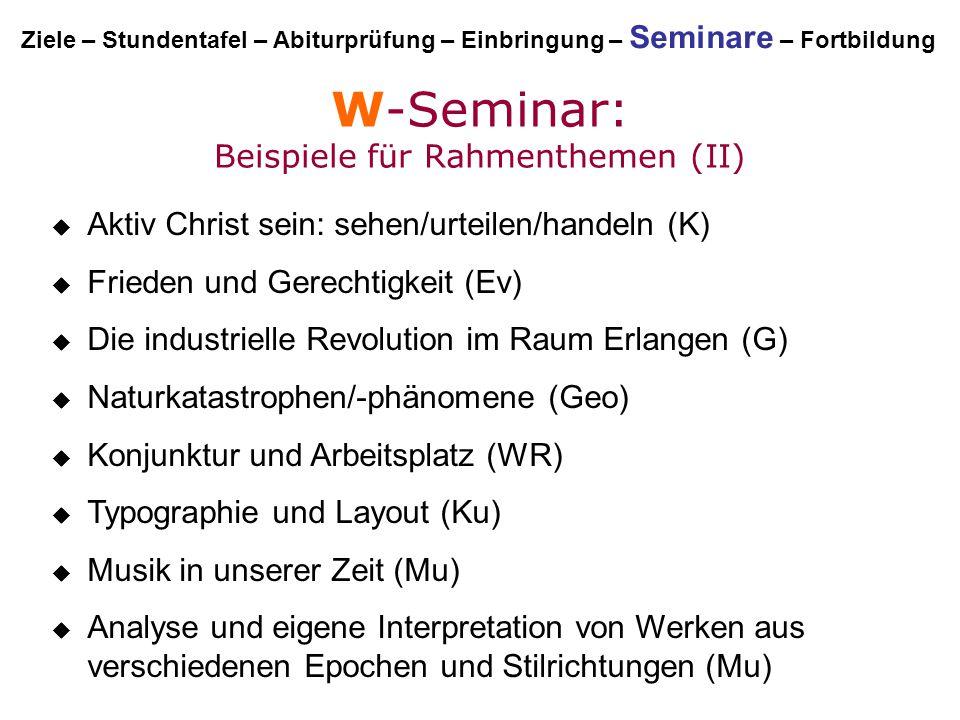 W-Seminar: Beispiele für Rahmenthemen (II)