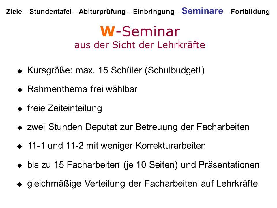 W-Seminar aus der Sicht der Lehrkräfte