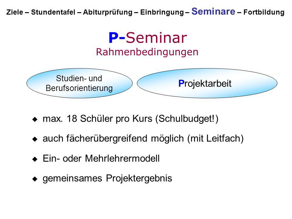P-Seminar Rahmenbedingungen