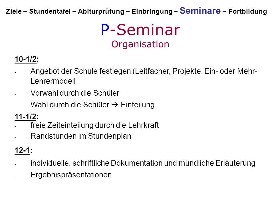 P-Seminar Organisation