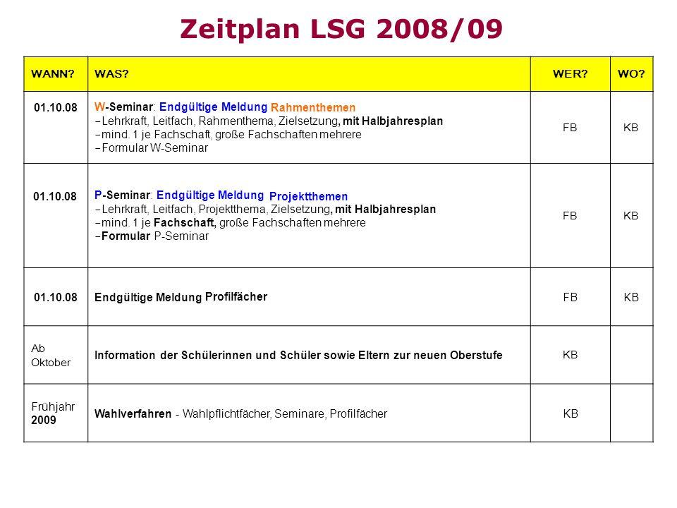 Zeitplan LSG 2008/09 WANN WAS WER WO W-Seminar: Endgültige Meldung