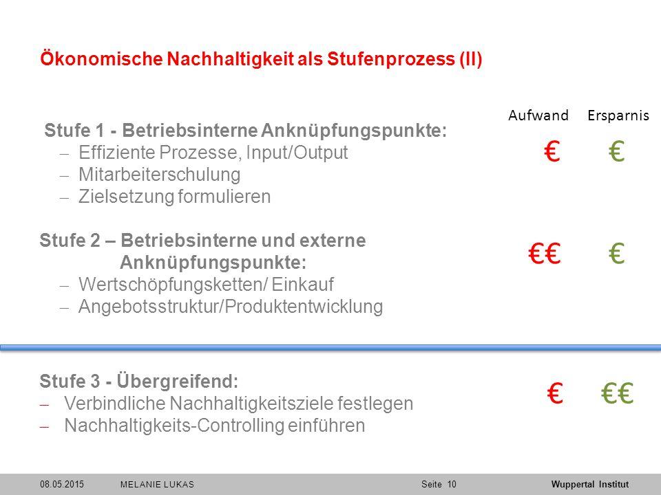 Ökonomische Nachhaltigkeit als Stufenprozess (II)